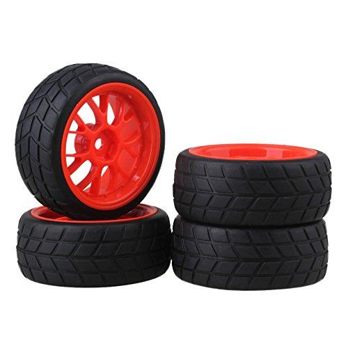 BQLZR Black Tires Red Y Type Wheel Rims 12mm Hub for RC 1 10 on-road Racing Car Pack of 4