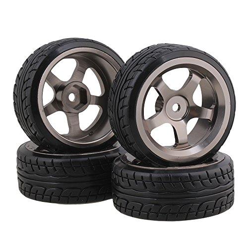 BQLZR Plastic RC 110 Drift Tires Grey Aluminum Alloy 5 Spokes Wheels Pack of 4