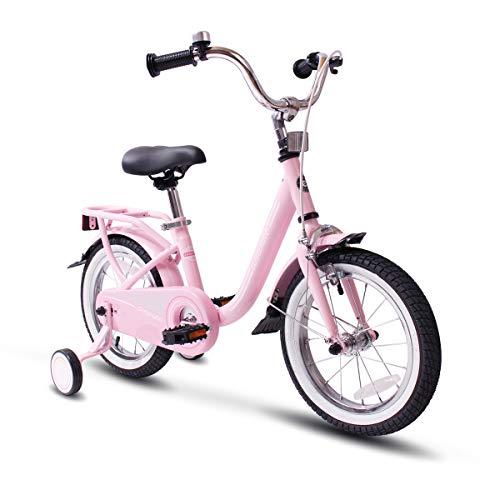 COEWSKE Kids Bike Steel Frame Children Bicycle 14-16 Inch with Training Wheel16 Pink