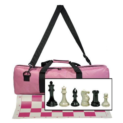 WE Games Premium Tournament Chess Set with Deluxe Pink Canvas Bag Super Weighted Staunton Chess Pieces - 4 Inch King