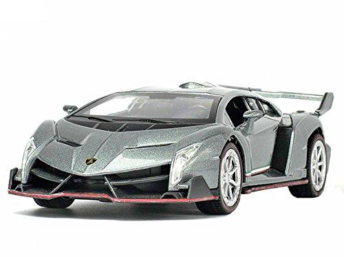NuoYa001 Grey 132 Lamborghini Veneno sports car Diecast Car Model Collection Sound&Light