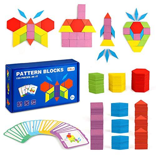 LBLA 155 PCS Wooden Pattern Block Set Geometric Shape Puzzle Educational Toy for Kids Preschool Learning Montessori Tangram Toys for Boys Girls with 24 PCS Design Cards