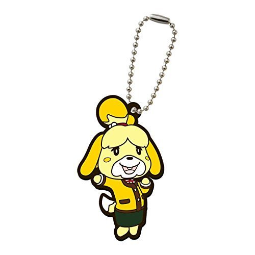 Animal Crossing Happy Home Designer Rubber Mascot Swing Keychain~Shizue Isabelle