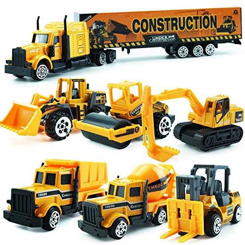 MinYn Construction Truck Toy Vehicle Set Mini Pocket Size Die-Cast Car Playset Road Roller Bulldozer Dump Truck Excavator Forklift Truck Mixer Gifts for Boys Girls Kids Children