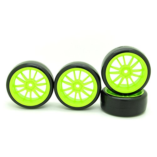 4x 110 RC Car Wheel Type Tires with 12 Spokes Durable Plastic Wheel Rim Green RC Parts for Drift Car