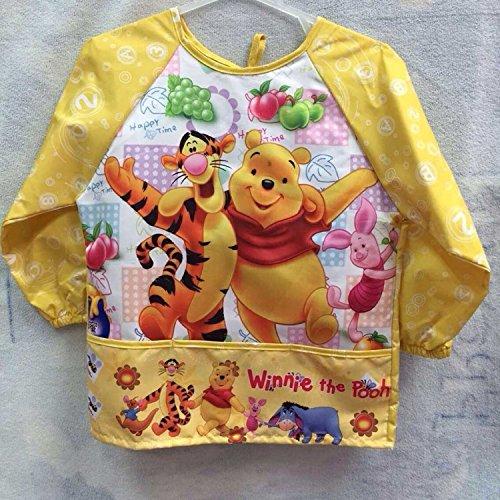 CJB Winner the Pooh Yellow Water Resistant Kids School Art Paint Smock Bib Apron with Sleeves - M 2-4 Years Old US Seller