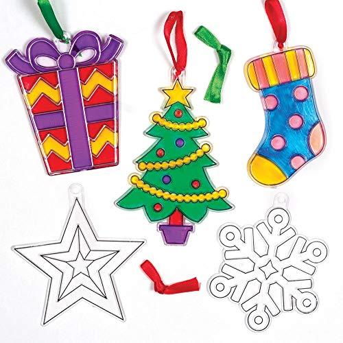 Baker Ross Christmas Suncatcher Ornaments Kits Festive Arts and Craft Pack of 10