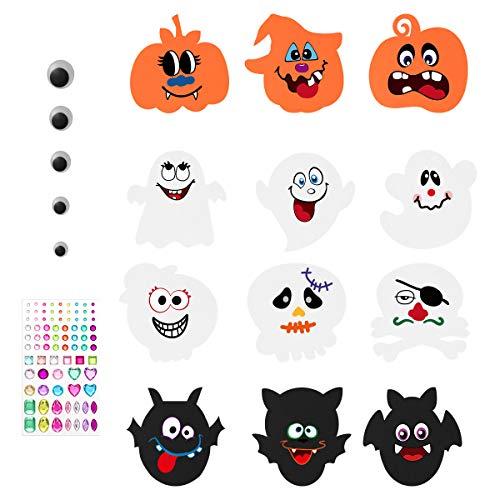 Halloween Stickers Pumpkin Decoration Crafting Kit - 12 EVA Foam Boards12 Face Stickers81 Self-Adhesive Rhinestone Sticker 24 Wiggle Eyes