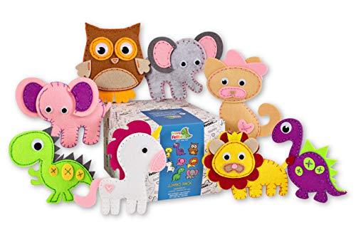 Happy Felties Jumbo Pack - Felt Animal Crafting Sewing Kit and Animal Crafts - Fun DIY Stuffed Animal Sew Kits for Kids Boys and Girls - Beginner Friendly