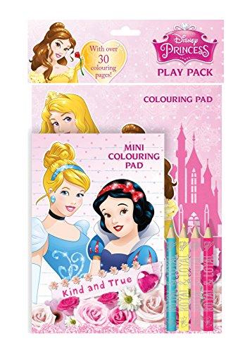 Disney Princess Play Pack Colouring Pads Pencils Childrens Activity Set Girls Kids
