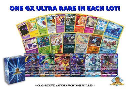 Pokemon Lot of 100 Cards - GX Rares - Foil Rares Includes Golden Groundhog Deck Box