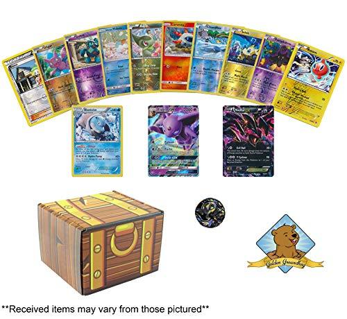 Pokemon Shiny Foil Treasures 20 Card Bundle - 17 Holo Foils - 1 Holo Rare - 2 Ultra Rares GX EX or V - 1 Collectible Pokemon Coin Includes Golden Groundhog Treasure Chest Storage Box