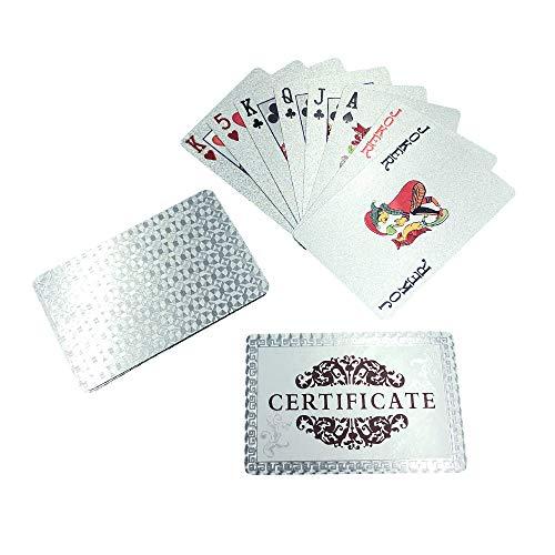 YH Poker Luxury Silver Foil Poker Playing Cards Decks with CertificateGeometric Back Design WaterproofDurableGift for Friends