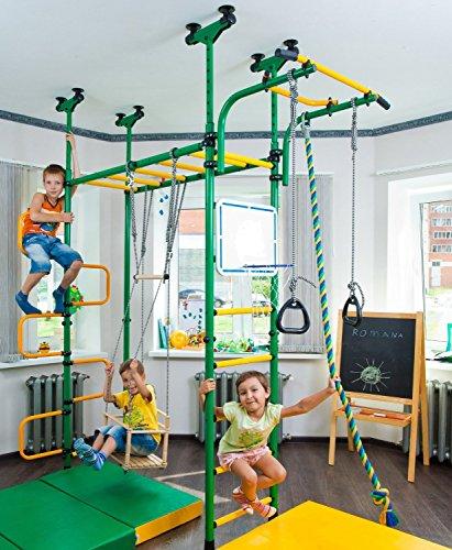 PEGAS Childrens indoor home gym Swedish Wall Playground Set Gymnastic ladder Horizontal bar moving Gymnastic Rings Trapeze Rope Horizontal bars Hole snake Shield basketball Swing Gyms
