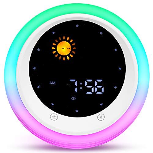 I·CODE Time to Wake Alarm Clock for Kids Childrens Sleep Trainer Kids Wake Up Light Sleep Sound Machine
