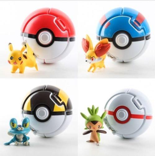Pokemon Pokeball Cosplay Pop-up Elf Go Fighting Poke BALL Toy 1-Red-White Ball