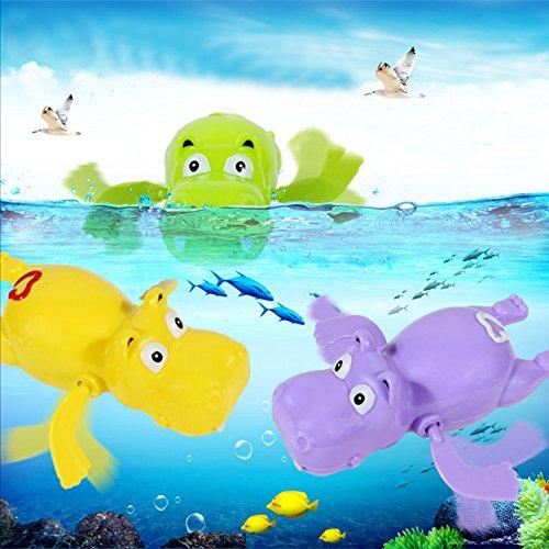 Cute Clockwork Wind Up Swimming Hippo Educational Bath Toys