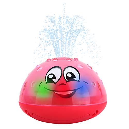 Spray Water Toy for Infant Bathtime Fun Electric Induction Sprinkler Toys for Toddler Kids Floating Bath Toys Water Spray Toy-Baby Bath Toy with Soft LED Lights Best Gift for Boys GirlsRed