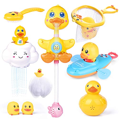 FunLittleToy 9 PCs Baby Bath Toys Duck Spray Water Toy Bath Squirters Bath Boat Fishing Net Bathtub Toys for Kids Best Gifts for Kids