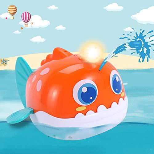 iPlay iLearn Automatic Baby Bath Toy Water Spray Squirt Bathtub Shower Toys W Light Sea Animal Lantern Fish Float Bathtime Gift for 12 18 Month 1 2 Years Toddler Infant Kids Boys Girls