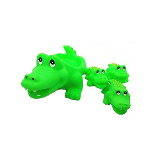 Axixi Cute Baby Girl Boy Kid Floating Bath Toys Toddler Bathtub Friends Classic Toys Rubber Race Squeaky Ducks Family Set crocodile