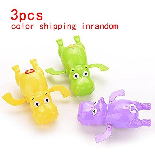 Cute Wind Up Hippo Toys Baby&Boys&Girls Bath Swimming Tub Pool ToyToddler Pool Bath Play Tools Hot Purple Yellow Green Shipping in Random