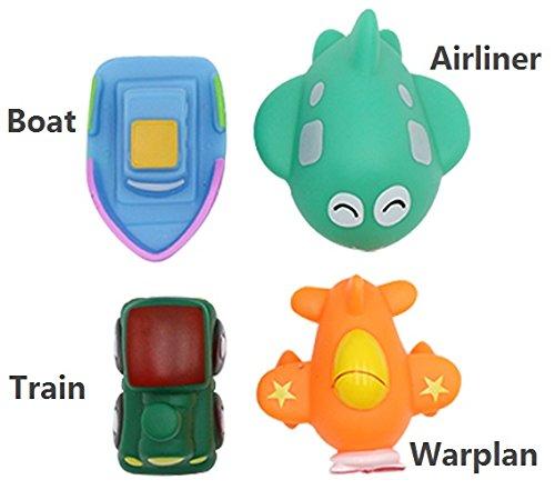 Naovio 4 Pcs Bath Toys for Kids Toddlers Bathtime Fun Toys Animals Collection Toys Vehicle Collection Toys Bath Toy Set for Children