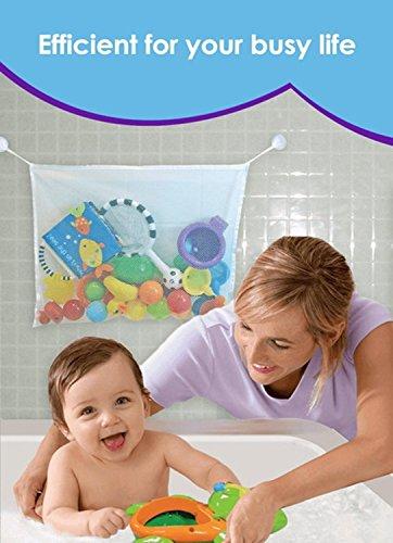 Bathtub Toy Organizer Toy Organizer net for the 2 bathroom Bonus Suction Cups Baby Toy Organizer with Bonus eBooks - Re-Washable baby bath toy storage bag is Mold Resistance Stays Clean In the Shower