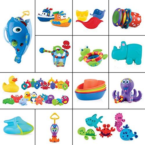 Nuby 71 piece Bath Toy Gift Set with Bathtub Toy Organizer- bath letters boats squirters floating toys