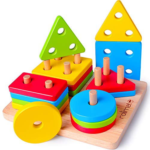 rolimate Educational Toys Toddler Toy for 1 2 3 4 Years Old Boy Girl Wooden Puzzle Shape Sorter Preschool Learning Toys Sensory Toy Montessori Toys for Toddlers Babies Kids