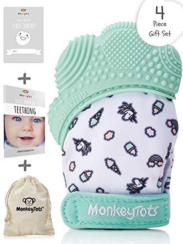 MonkeyTots Teething Mitten for Babies  Exceptional Quality Baby Teething Toys  Comforting Mitten Teethers for Babies  Includes Teething Mitt Travel Bag Milestone Card Teething eBook