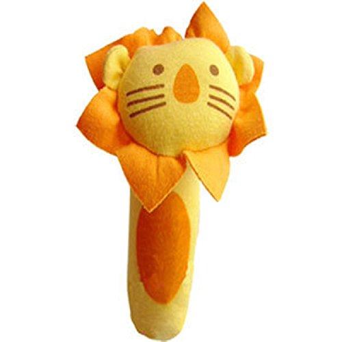 Axixi Baby soft Handle Cartoon Animal Teether Rattle Squeaker BB Stick Bell Shaker Newborn Grabbing Toy Lion