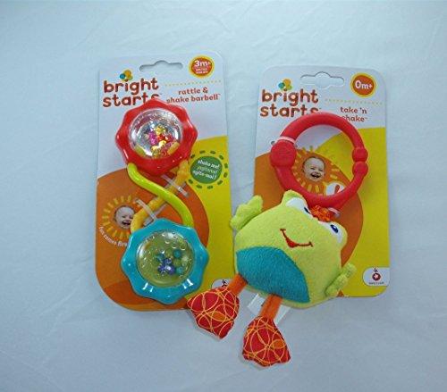 Baby Gift Bundle - 2 Items Bright Starts Take n Shake Frog and Bright Starts Rattle and Shake Barbell
