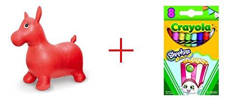 Imaginarium Bouncy Horse and Crayola 8 Count Shopkins Crayons - Poppy Corn - Bundle