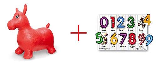 Imaginarium Bouncy Horse and Melissa Doug Classic Peg Puzzle - See Inside Numbers - Bundle