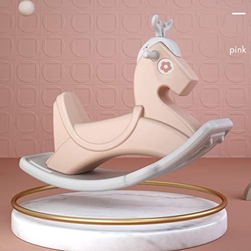 Rocking Horse Childrens Rocking Horse Toy Glowing Rocking Car Trojan Music Baby Gift FANJIANI Color  Pink