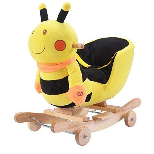 Costzon Baby Kids Toy Plush Rocking Horse Rider Toddler Seat wood Rocker w Sound wheel by Costzon
