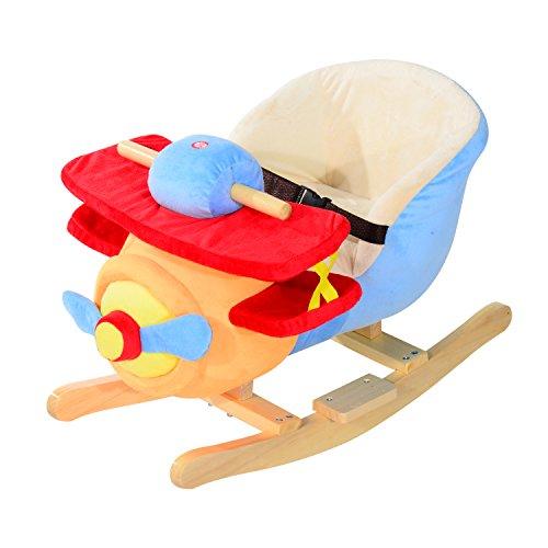 Qaba Kids Plush Rocking Horse Airplane w Nursery Rhyme Sounds