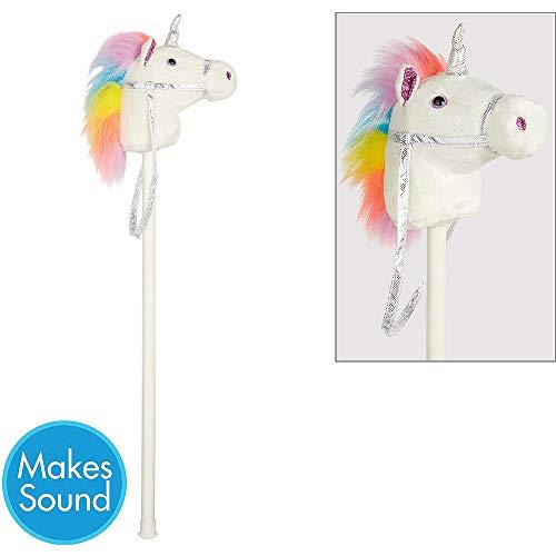 ToyPlaya Compatible with Unicorn Theme Kids Birthday Party Supplies Packs White Unicorn Hobby Horse