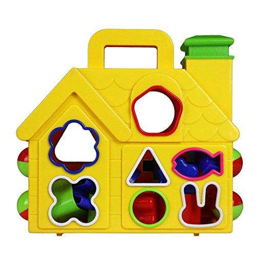 Kids Toys Shape Sorter House Color Sorting Learning Shapes Baby Educational Preschool Puzzles with 14 Shaped Blocks