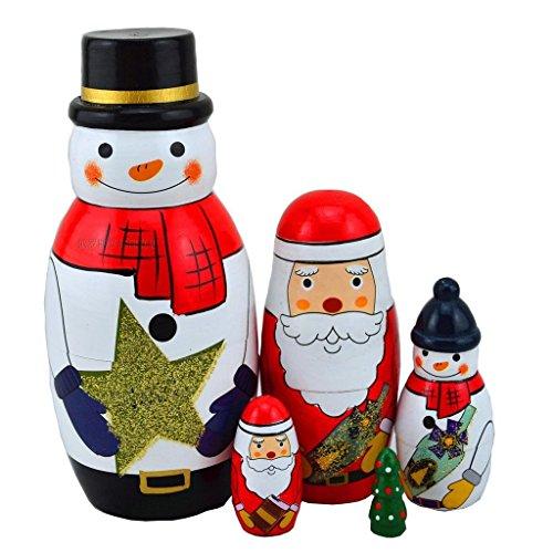 King&Light 5pcs Snowmans Nesting Dolls - Wooden Russian Dolls Matryoshka Stacking Toys