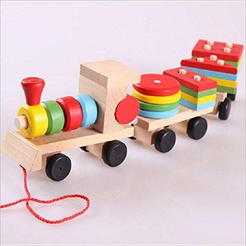 Montessori Toys Wooden Stacking Shape Geometry Blocks Train Diecasts Vehicle Set Combination Educational Toys Kids