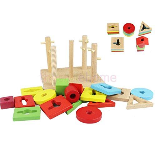 Sangdo Wooden Geometric Stacking Shape Matching Toy w 5 Pillars Baby kids Activity