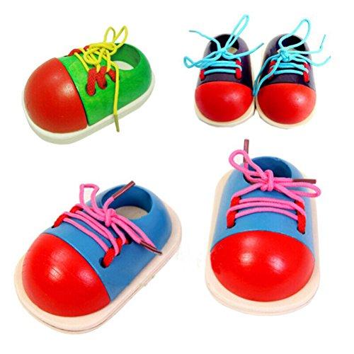 ROSENICE Wooden Lacing Toy Kids Learn to Tie Shoe Preschool Tie-Up Shoe Threading Toy