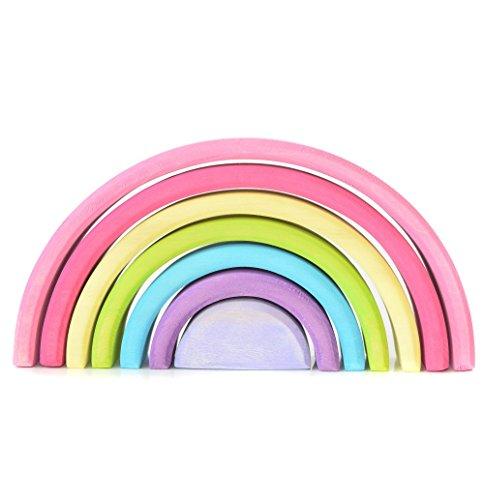 EcoWorkshop Wooden Rainbow Stacking Pastel Colors Rainbow Stacker Classic Toy Wooden Rainbow Decor Building Toys Sorting Montessori Preschool Waldorf Toys 7 Pcs Pieces Medium Pastel 7 Pcs