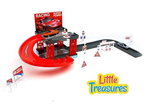 Little Treasures Toy 2-Level Parking Garage Play Set