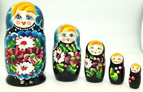Unique Authentic Russian Hand Painted Floral Blue Black Nesting Dolls Set of 5 Pcs Matryoshkas