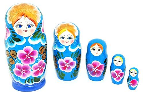 Unique Authentic Russian Hand Painted Floral Light Blue Nesting Dolls Set of 5 Pcs Matryoshkas
