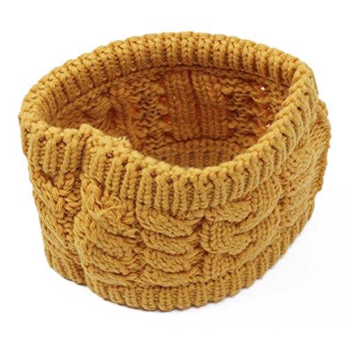 NUOLUX Twisted Knitted Yarn Empty Hat Men Women Winter Fashion Hair Accessories Headbands Yellow
