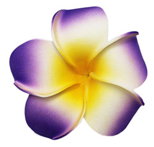 Tropical Flower Fashion Hair Barrette Purple and Yellow